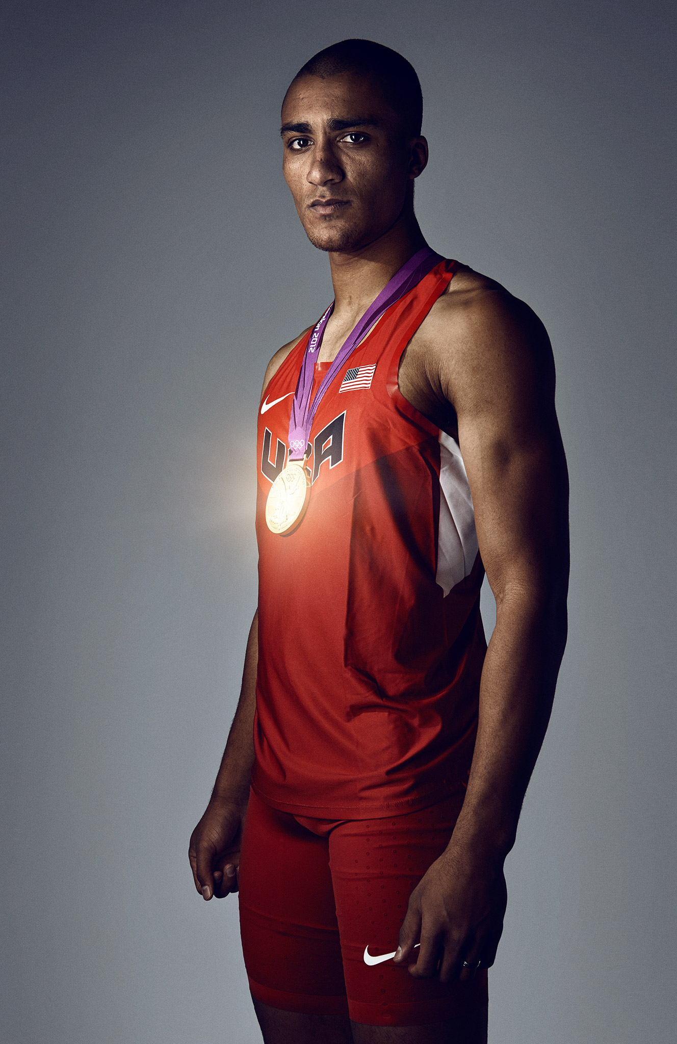 Ashton Eaton Decathlon with Gold Medal | Zach Ancell Photography