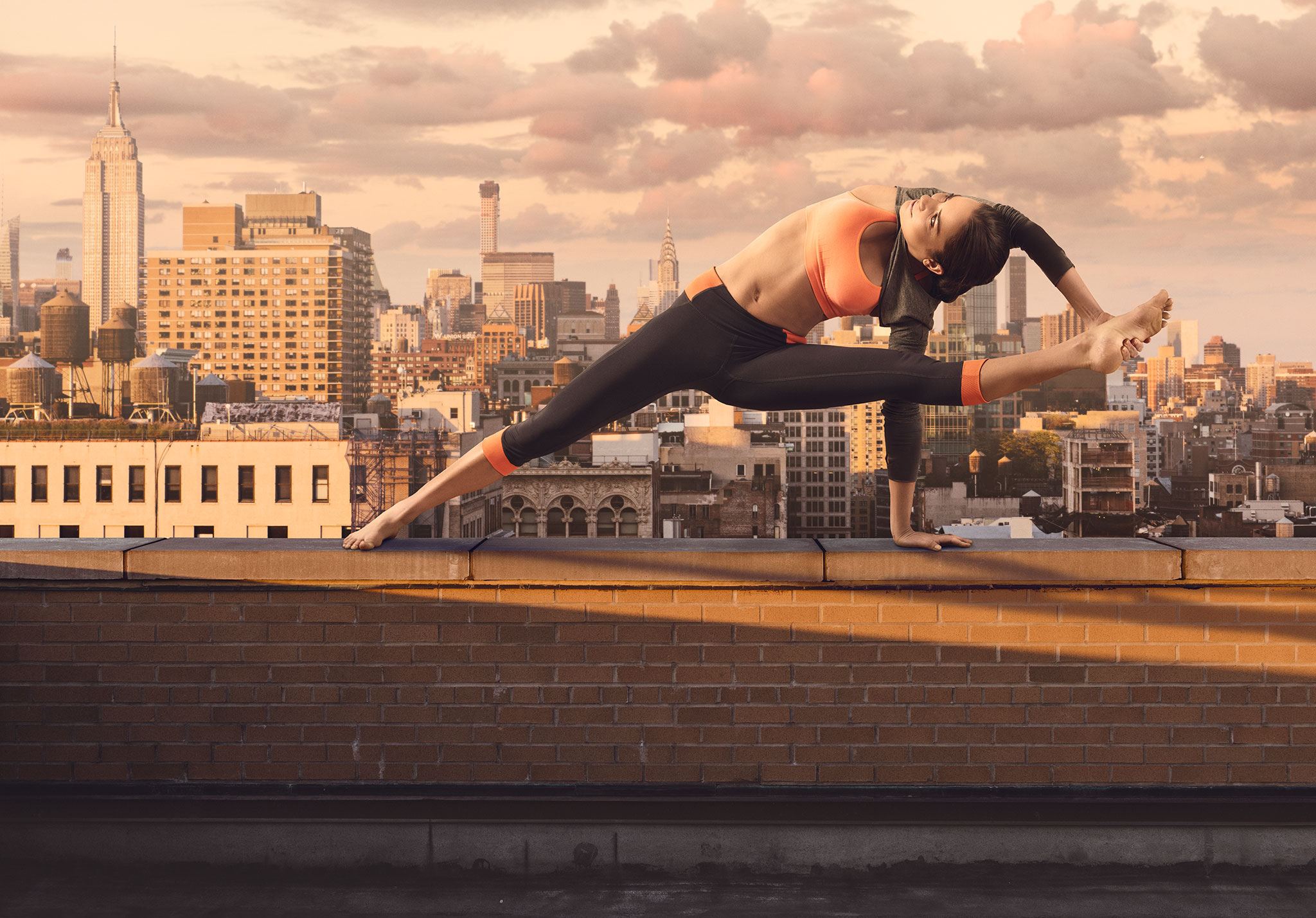 Model Yoga Pose on Building in NYC | Zach Ancell Photography