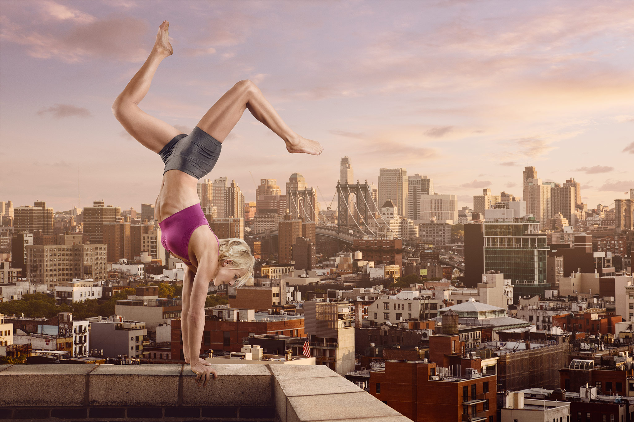 Model Balances on the Top Ledge of Building | Zach Ancell Photography