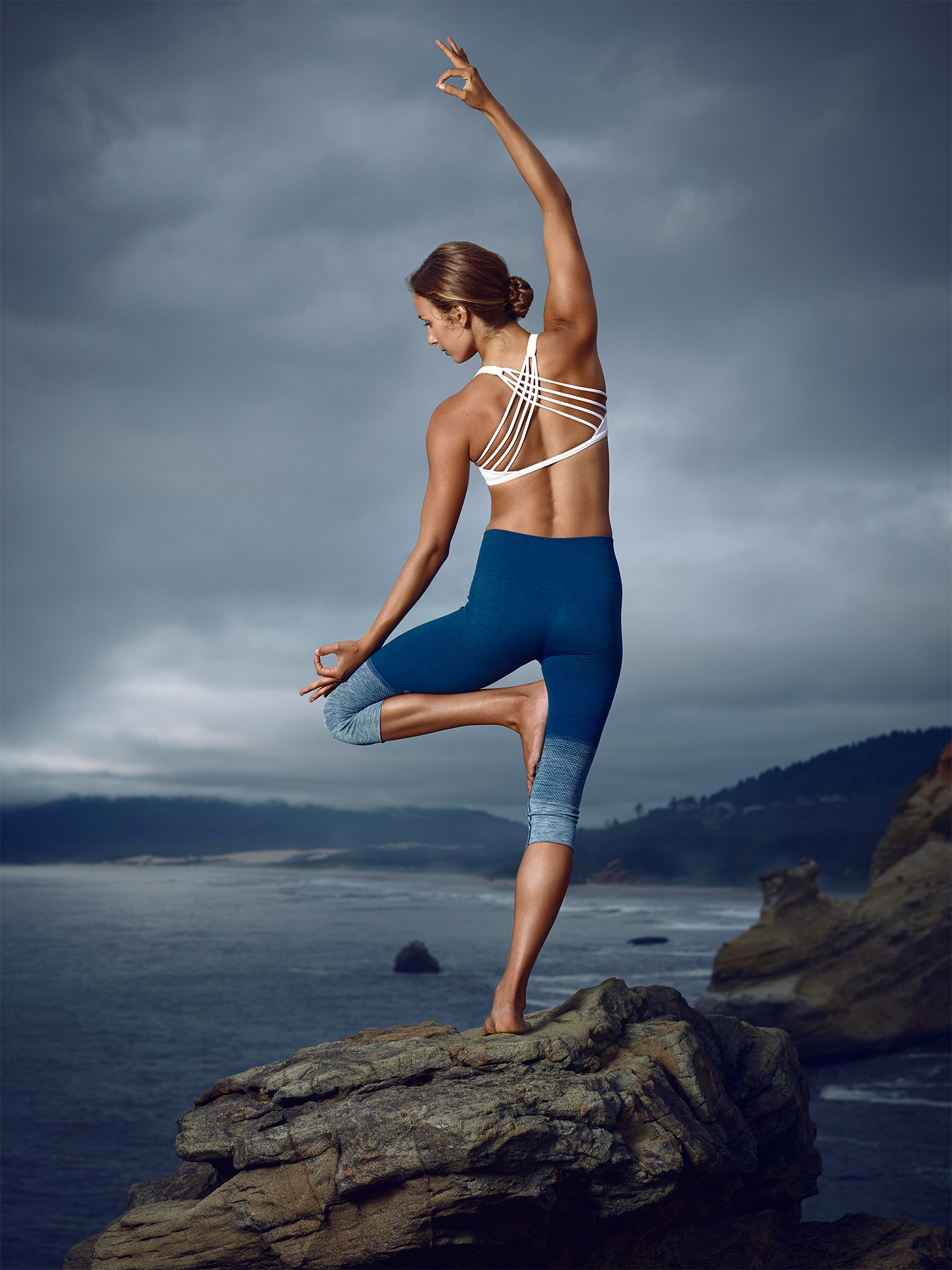 Model Practices Yoga on Rock | Zach Ancell Photography