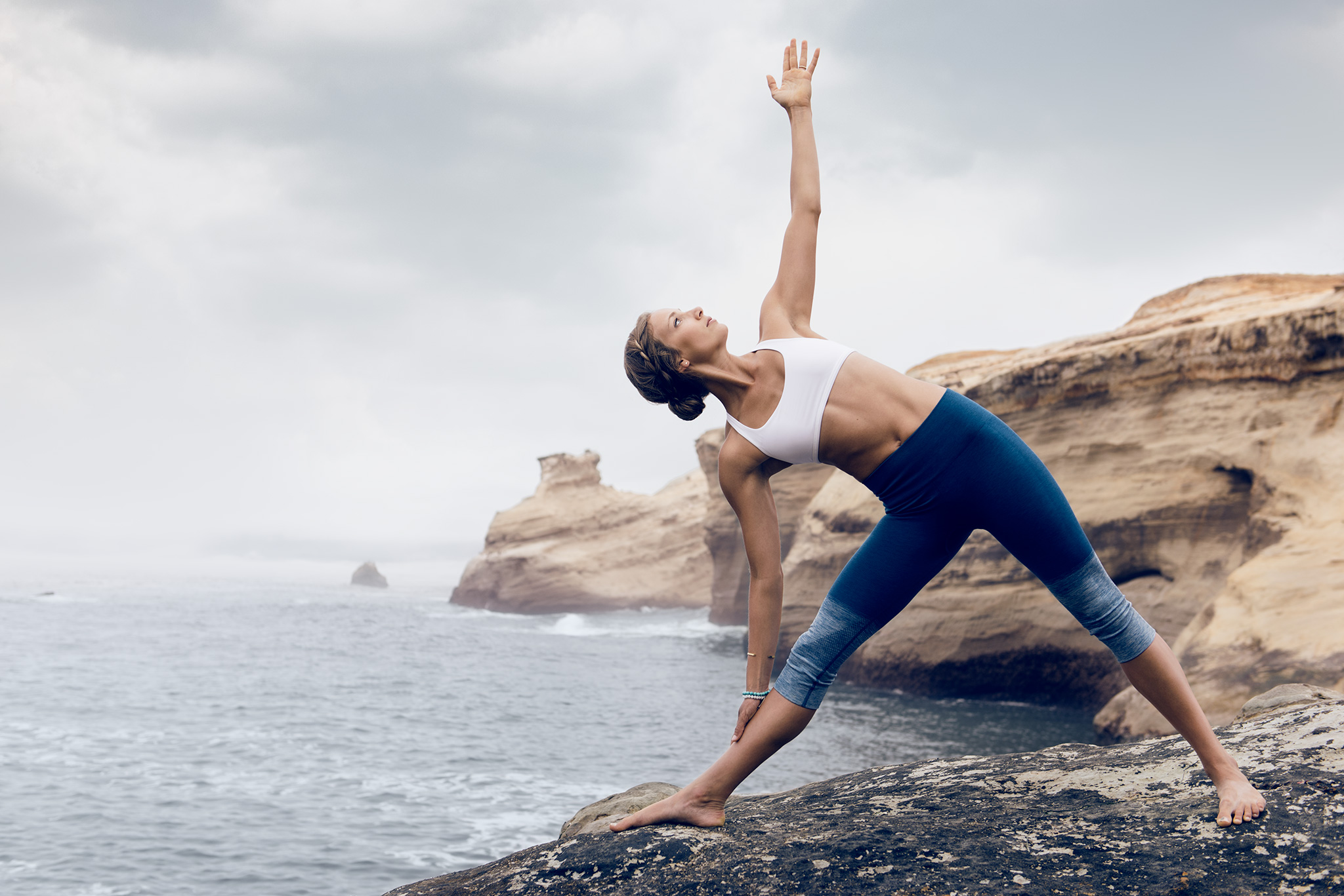 Model Yoga Stretch on the Beach | Zach Ancell Photography