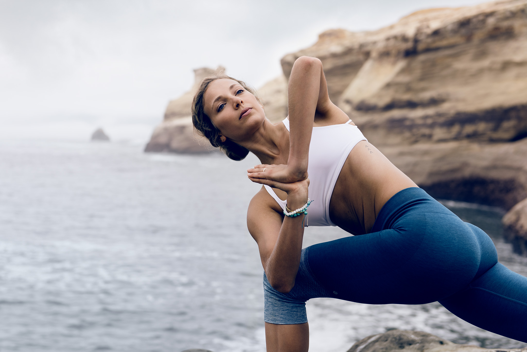 Girl Holds Yoga Pose Near Coast | Zach Ancell Photography