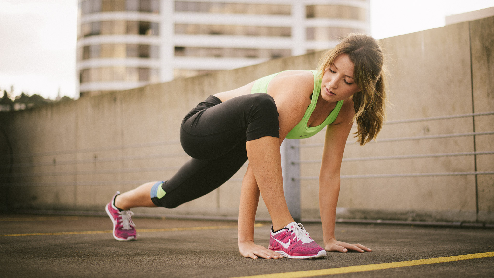 Woman Does Lunge Stretch | Zach Ancell Photography