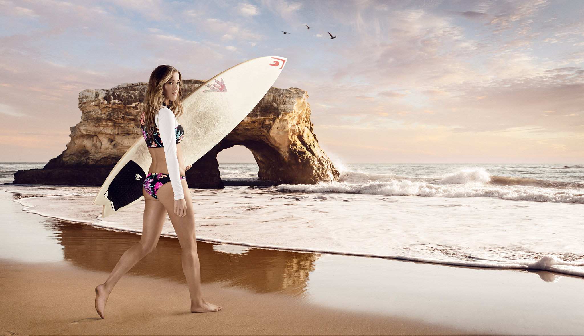 Surfer Girl Walks Toward the Ocean | Zach Ancell Photography
