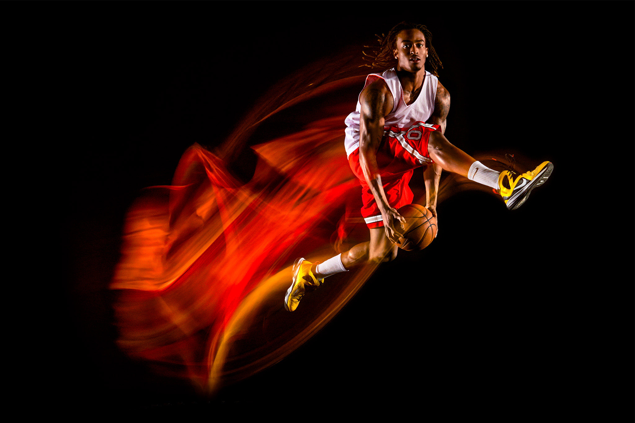 Basketball Motion Trajectory Photo Colorful | Zach Ancell Photography
